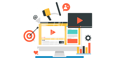 Video Marketing Flat Image with Transparent Background