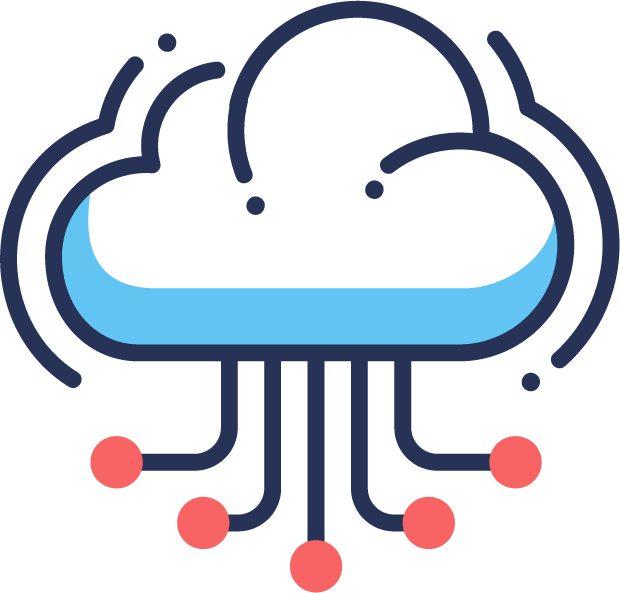 Web cloud hosting bi color flat icon