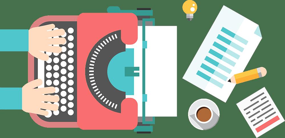 Blog article writing flat image