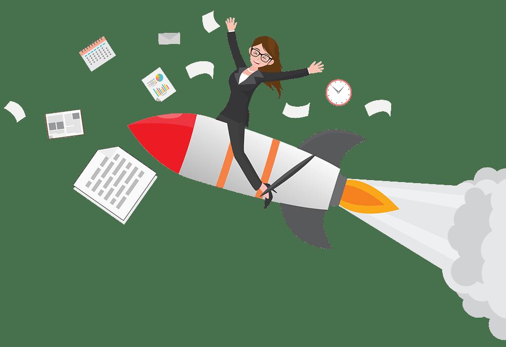 Happy sales girl flying on rocket transparent image