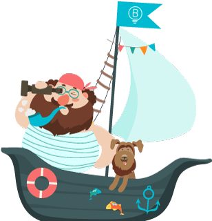 Funny pirate with a dog in the ship flat image