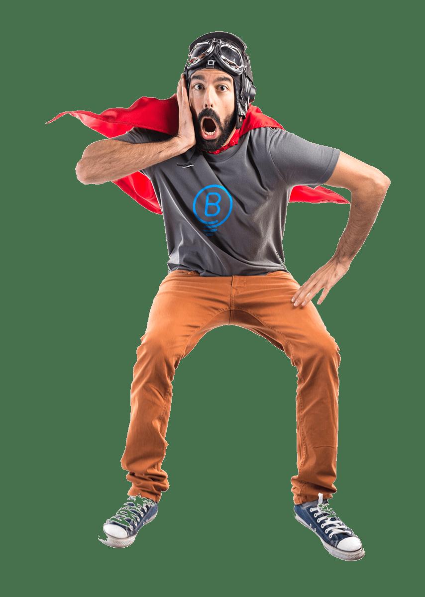 Surprised Man in Superhero clothing transparent image