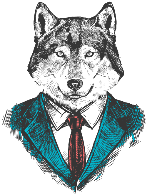Fox hand drawn sketch with a suit
