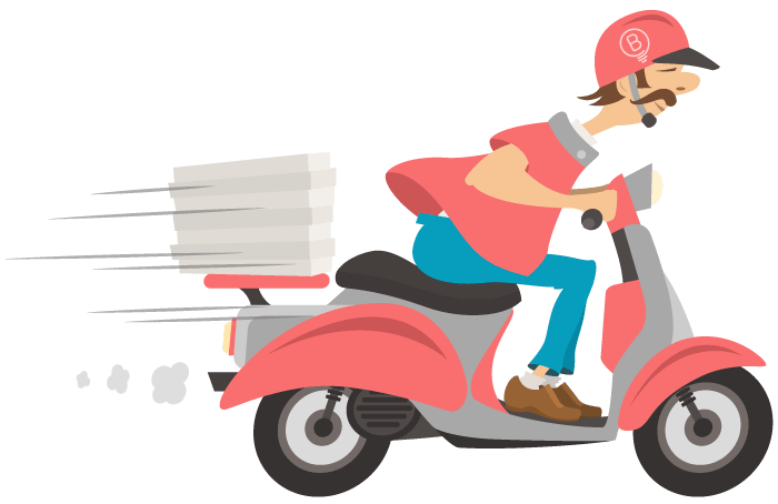 Delivery Guy driving fast on scooter