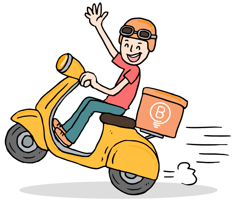 Guy on scooter driving fast
