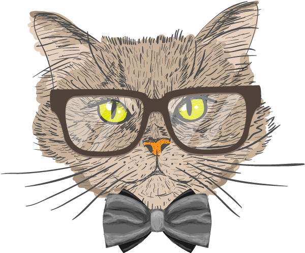 Handmade digital sketch of cat with spectacles