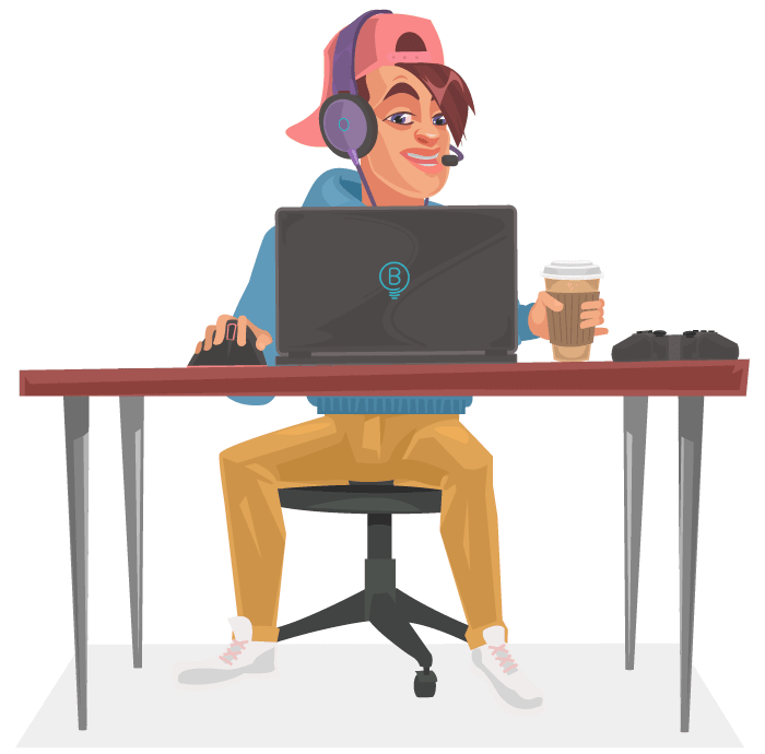 Coder working on laptop with coffee