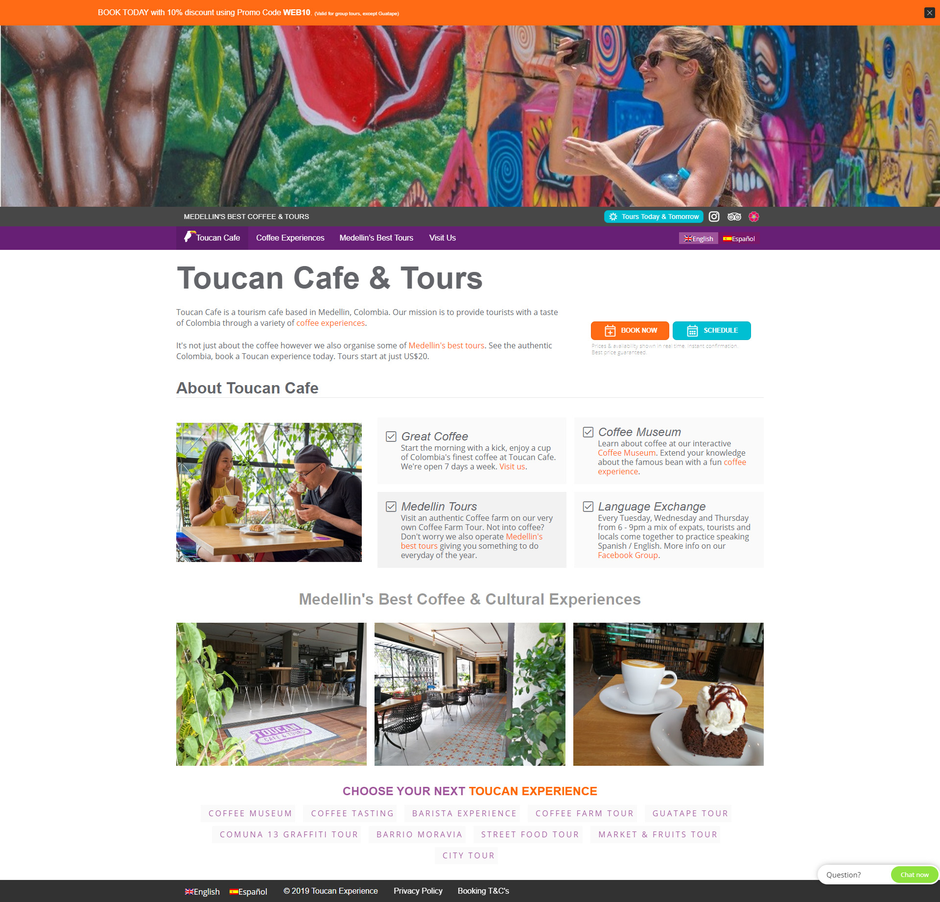 Previous Cafe and Tours Website Design Sample