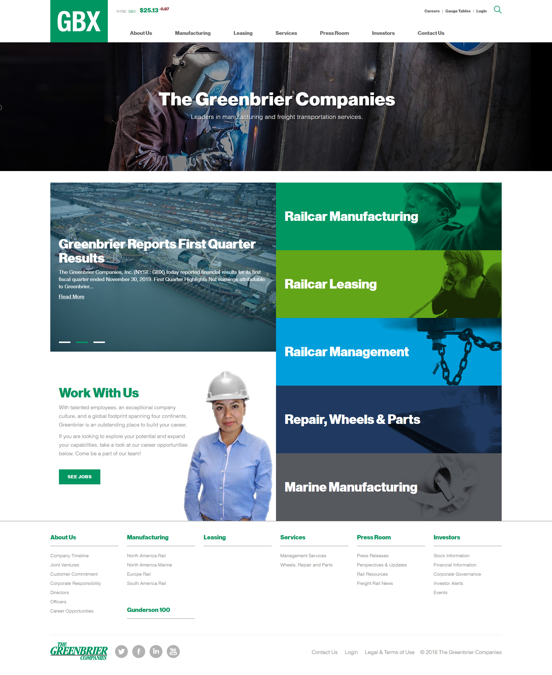 Previous Railcar Manufacturing Website Design Sample