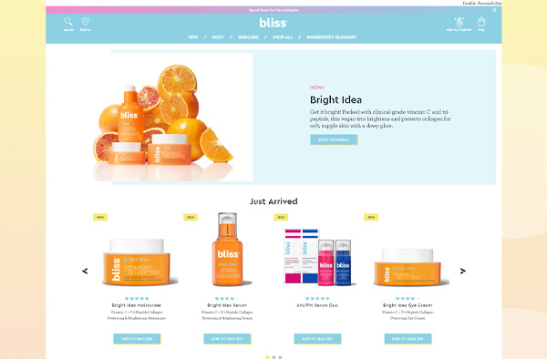 Previous Skin Care Products Website Design Example
